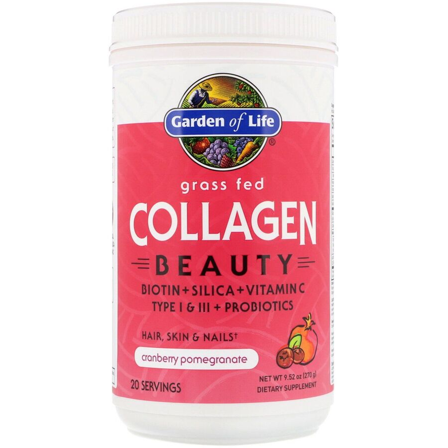 Пептиды коллагена, Grass Fed Collagen Beauty, Garden of Life, гранат + клюква, порошок, 270 г