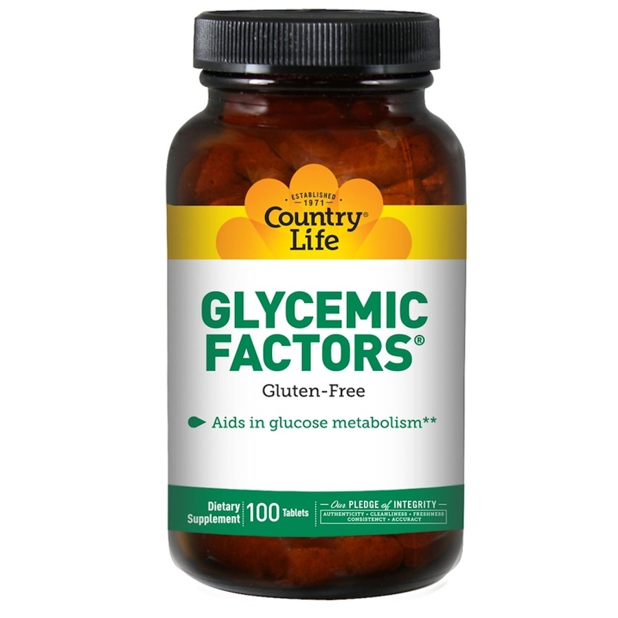 Гликемический фактор, без глютена, Country Life, 100 таблеток