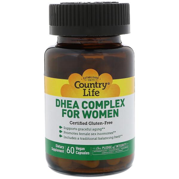Дегидроэпиандростерон, ДГЭА для женщин, DHEA, Country Life, 60 капсул