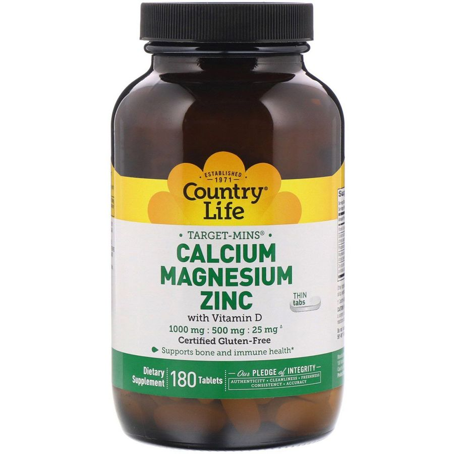 Кальций Магний Цинк с витамином D, Country Life, 180 таблеток