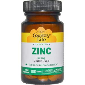 Цинк хелатный, Country Life, 50 мг, 100 таблеток