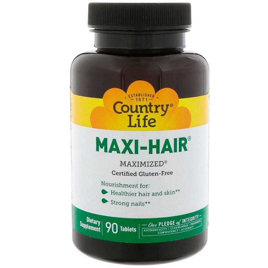 Витамины для волос, Maxi Hair, Country Life, 90 таблеток