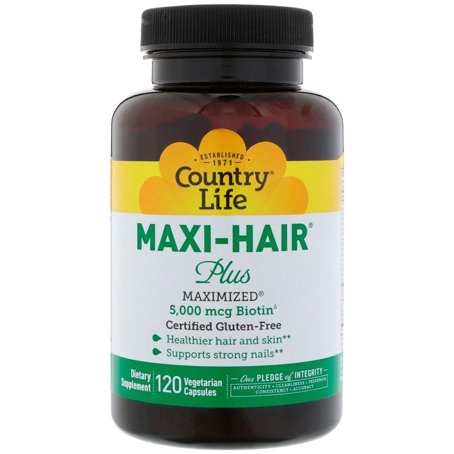 Витамины для волос, Maxi Hair Plus, Country Life, 120 капсул