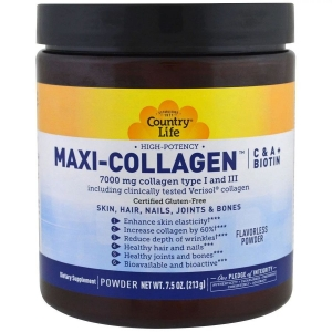 Коллаген макси с витамином А и С плюс биотин, Maxi-Collagen, C & A plus Biotin, Country Life, 213 г