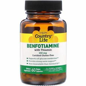 Бенфотиамин c коэнзимным В1, Country Life, 150 мг, 60 таблеток