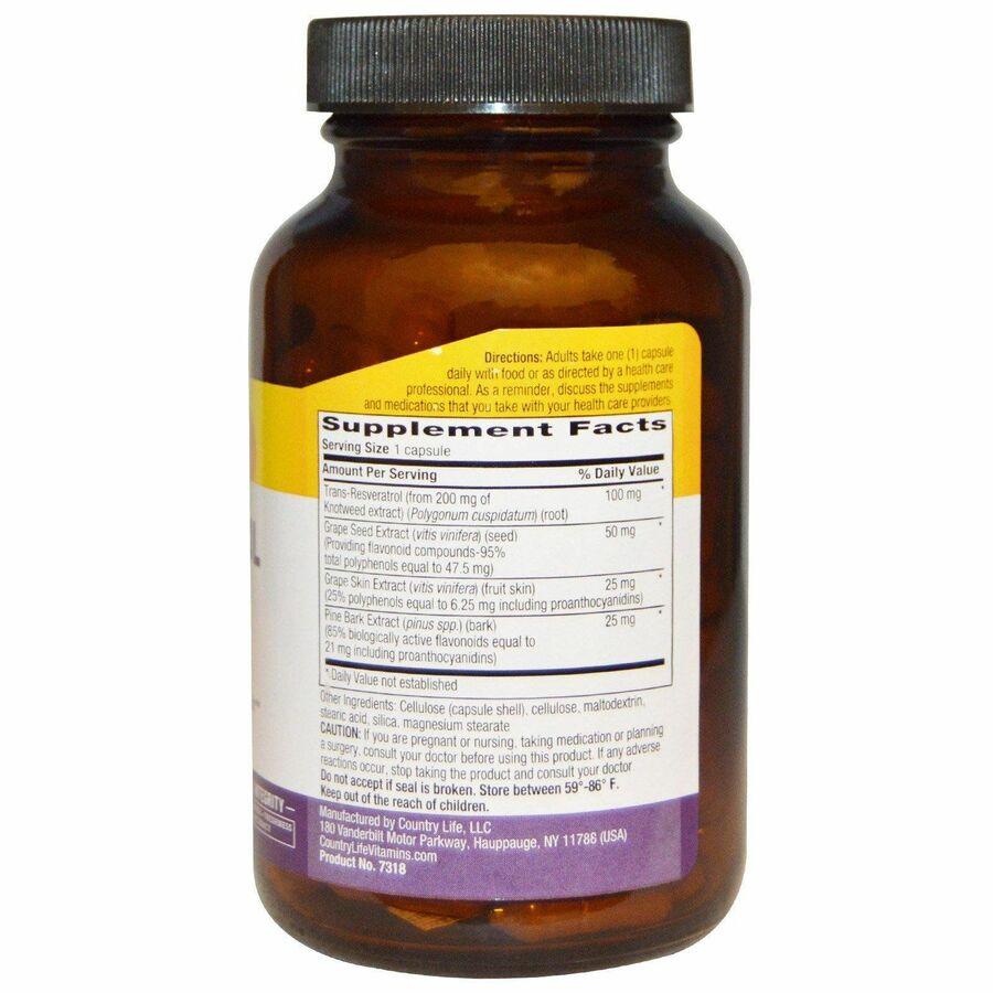 Ресвератрол (Resveratrol Plus), Country Life, 120 капсул