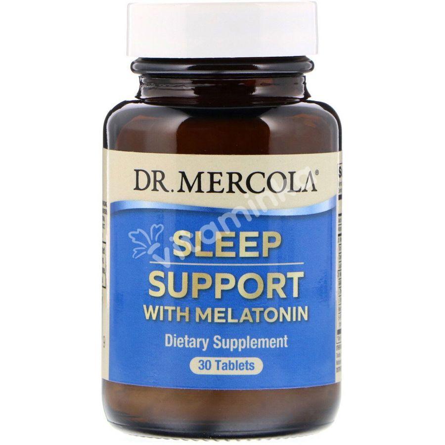 Помощь при бессоннице с мелатонином, Sleep Support with Melatonin, Dr. Mercola, 30 таблеток