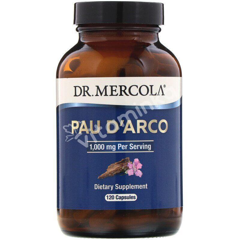 По д'арко, Pau D'Arco, Dr. Mercola, 1000 мг, 120 капсул