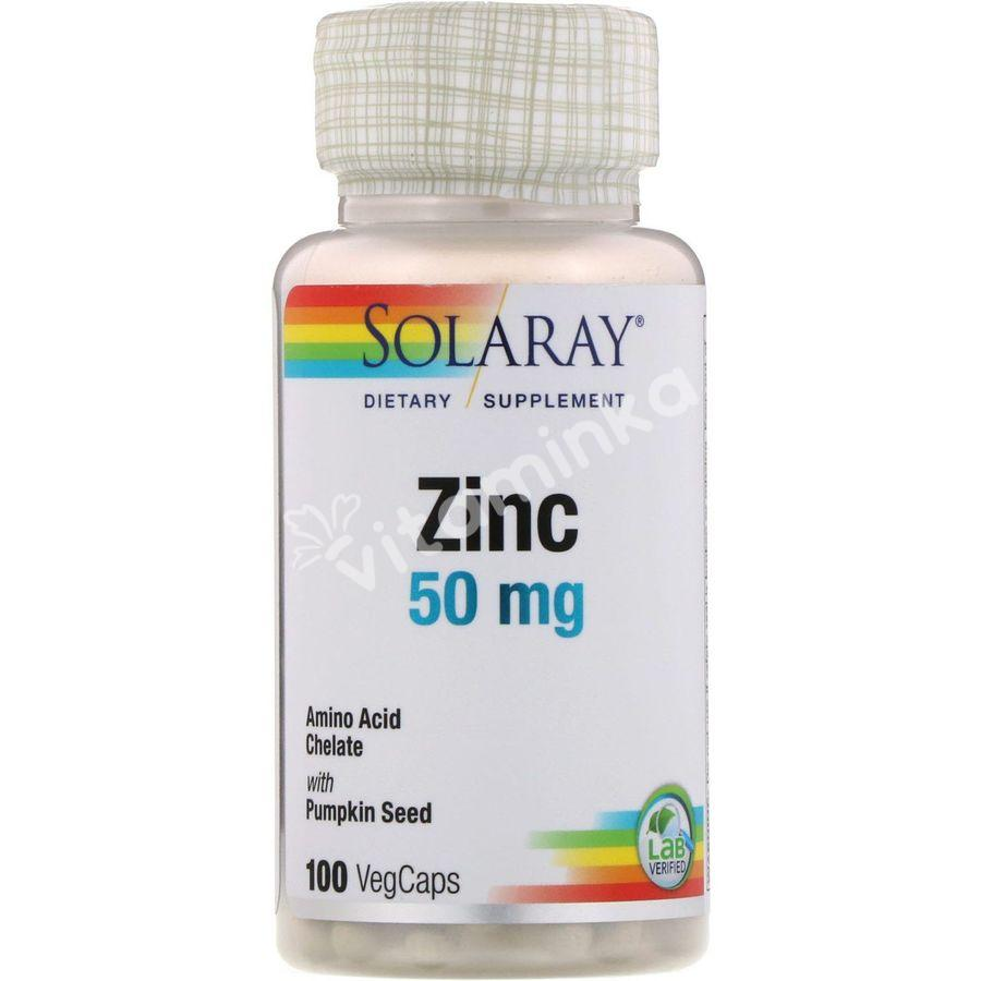 Хелатный цинк, Zinc, Solaray, 50 мг, 100 капсул