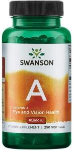 Витамин А, Vitamin A, Swanson, 10000 МЕ (3000 мкг), 250 гелевых капсул