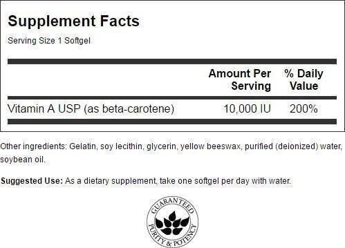 Бета каротин (витамин А), Beta-Carotene, Swanson, 10000 МЕ (3000 мкг), 100 гелевых капсул