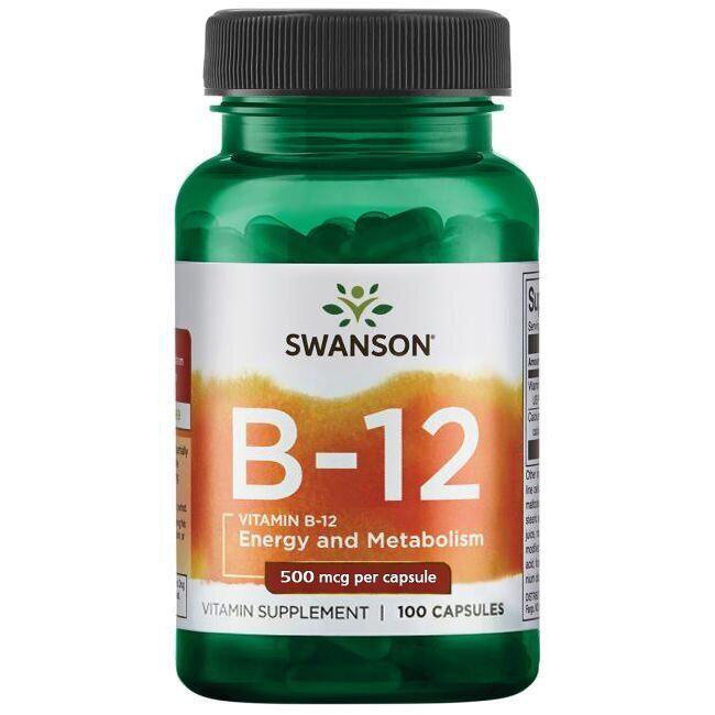 Витамин В12, Vitamin B-12, Swanson, 500 мкг, 100 капсул