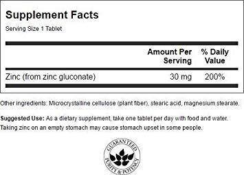 Цинк глюконат,  Zinc Gluconate, Swanson, 30 мг, 250 таблеток