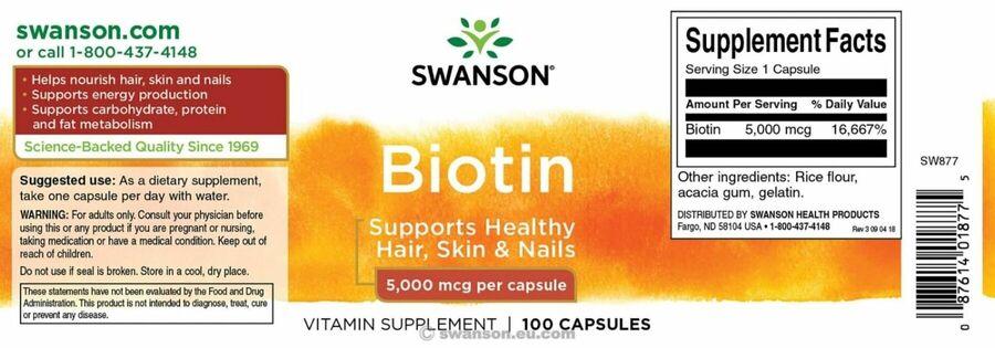 Биотин, Biotin, Swanson, 5000 мкг, 100 капсул