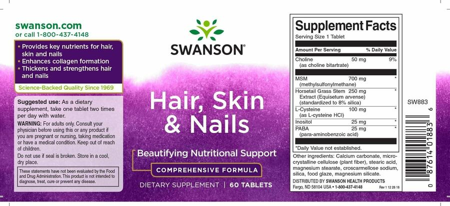 Формула для кожи, волос и ногтей, Hair, Skin & Nails, Swanson, 60 таблеток