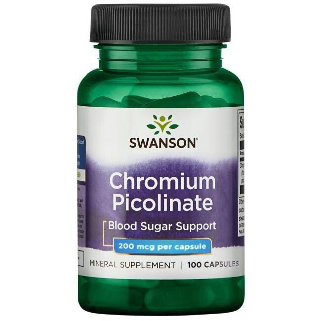 Хром пиколинат, Chromium Picolinate, Swanson, 200 мкг, 100 капсул