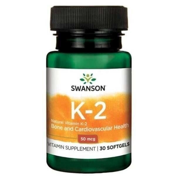 Витамин К2, Ultra Natural Vitamin K2, Swanson, 50 мкг, 30 гелевых капсул