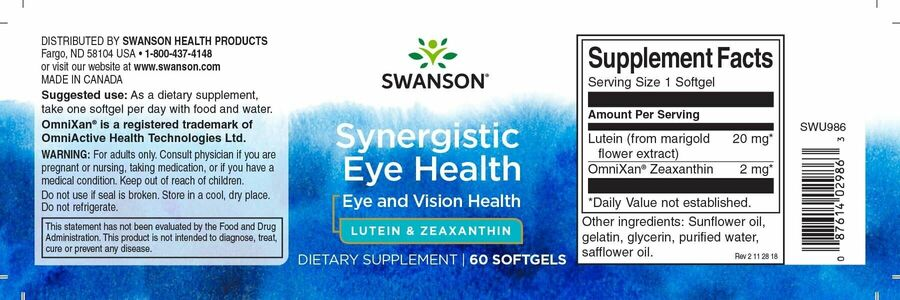 Лютеин с зеаксантином, Ultra Synergistic Eye Health, Swanson, 60 гелевых капсул