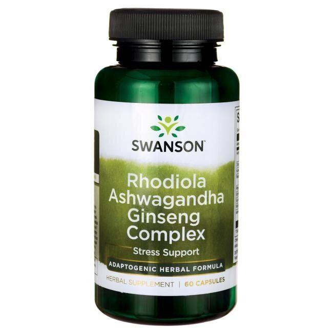 Родиола, ашваганда и женьшень, Rhodiola Ashwagandha Ginseng, Swanson, комплекс, 60 капсул