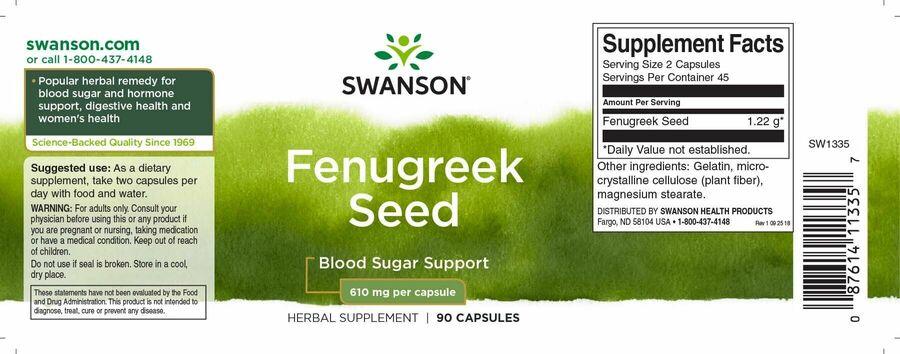 Пажитник, семена, Fenugreek Seed, Swanson, 610 мг, 90 капсул