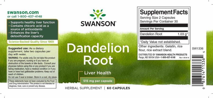 Одуванчик, корень, Dandelion Root, Swanson, 515 мг, 60 капсул