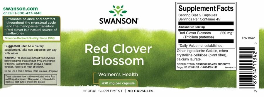 Красный клевер, Red Clover Blossom, Swanson, 430 мг, 90 капсул