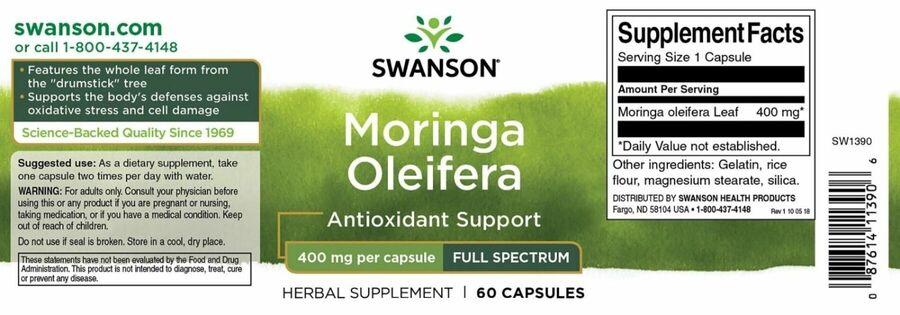 Моринга, Moringa Oleifera, Swanson, 400 мг, 60 капсул