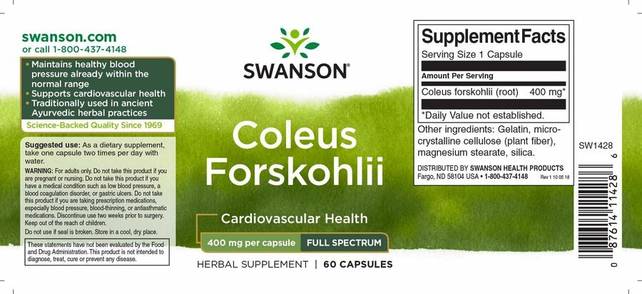 Форсколин, Coleus Forskohlii, Swanson, 400 мг, 60 капсул