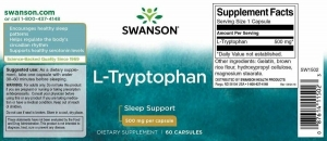 L-триптофан, L-Tryptophan, Swanson, 500 мг, 60 капсул