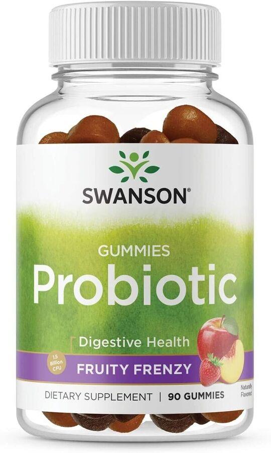 Пробиотики, Probiotic, Swanson, фруктовое безумие, 90 жевательных конфет