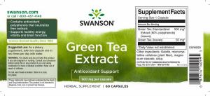 Зеленый чай, экстракт, Green Tea Extract, Swanson, 500 мг, 60 капсул