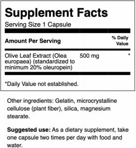 Экстракт оливковых листьев, Olive Leaf Extract, Swanson, 500 мг, 60 капсул