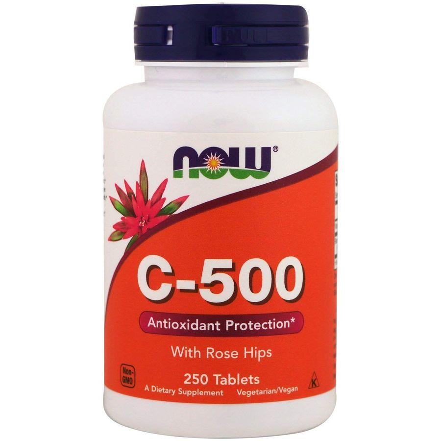 Витамин С-500, Rose Hips, Now Foods, плоды шиповника, 250 таблеток