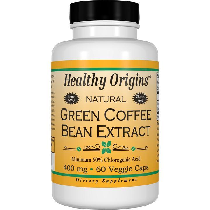 Зеленый кофе, Green Coffee, Healthy Origins, экстракт бобов, 400 мг, 60 капсул