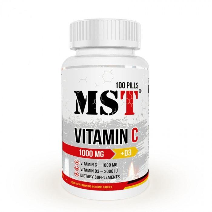 Витамин C (1000 мг.) с витамином D 3(2000 МЕ), MST Nutrition, 100 таблеток