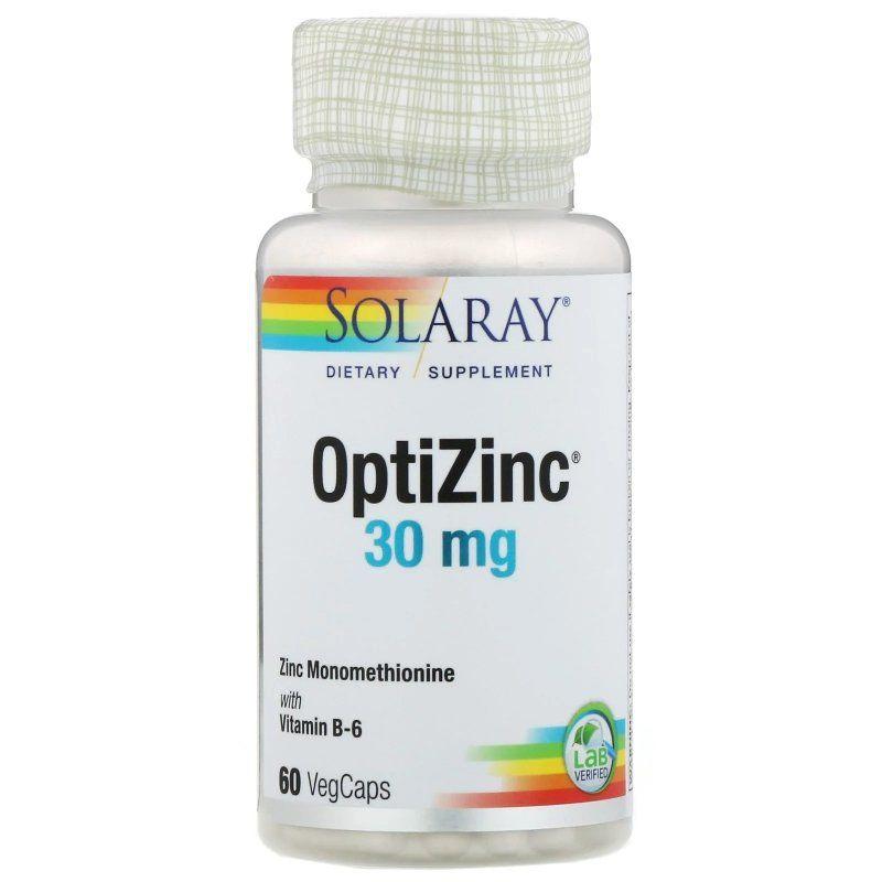 Цинк, Оптицинк, OptiZinc, Solaray, 30 мг, 60 растительных капсул