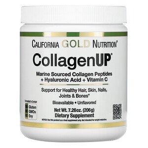 Коллаген пептиды UP 5000, Collagen Peptides, California Gold Nutrition, морской с гиалуроновой кислотой и витамином С, без вкуса, 5000 мг, 206 г