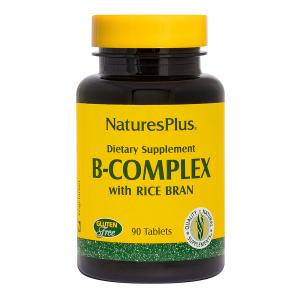 Витаминный В-комплекс с рисовыми отрубями, B-Complex with Rice Bran, B-Complex, Nature's Plus, 90 таблеток