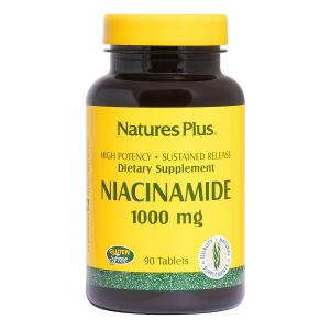 Ниацинамид, Niacinamide, Nature's Plus, 1000 мг, 90 капсул