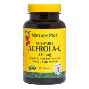 Ацерола (витамин-С), Acerola-C, Nature's Plus, 250 мг, 90 табл.