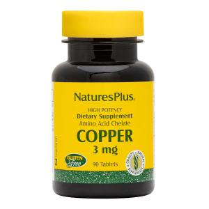 Медь, Copper, Nature's Plus, 3 мг, 90 таблеток