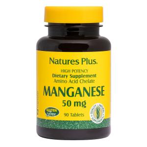Марганец, Manganese, Nature's Plus, 50 мг, 90 таблеток