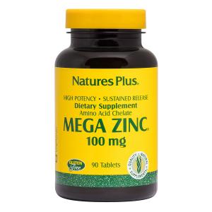 Мега Цинк, Mega Zinc, Nature's Plus, 100 мг, 90 таблеток