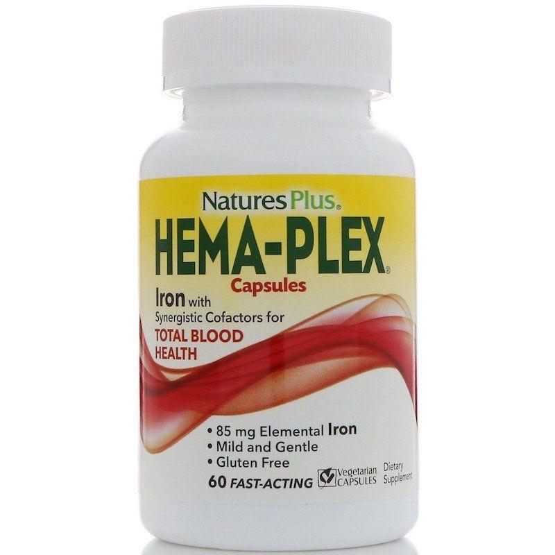 Комплекс витаминов и минералов, Hema-Plex, Nature's Plus, 60 вегетарианских капсул