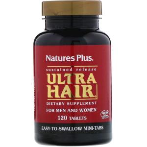 Комплекс для волос с замедленным высвобождением, Ultra Hair, Nature's Plus, 120 таблеток
