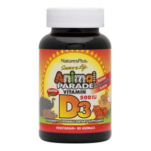 Витамин Д-3, Vitamin D 3, Nature's Plus, Animal Parade, 500 МЕ, 90 жевательных конфет