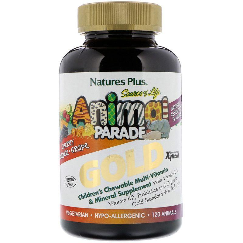Витамины для детей (Children's Multi-Vitamin), Animal Parade Gold, Nature's Plus, Animal Parade, 120шт