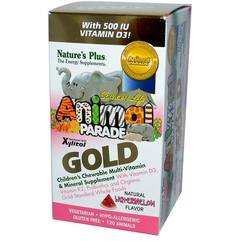 Витамины для детей, Animal Parade Gold, Nature's Plus, вкус арбуза, 120 шт
