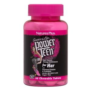 Витамины для девочек, Power Teen, For Her, Nature's Plus, ягодный вкус, 60 т.
