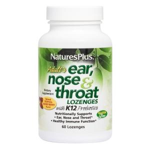 Ухо, Горло, Нос, Ear, Nose & Throat, Nature's Plus, для взрослых, вкус вишни, 60 таблеток для рассас